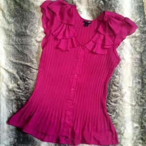 Ruffle Pink Dress Blouse Stretch Work Fuchsia Top